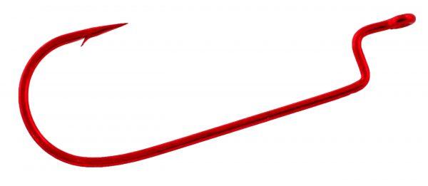 D45VP OFFSET, WIDE GAP WORM HOOK, BLEEDING BAIT RED