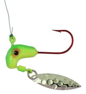 WSG-622 WALLEYE STACKER, LIME/CHAR 1/4oz #2 Standout Hook